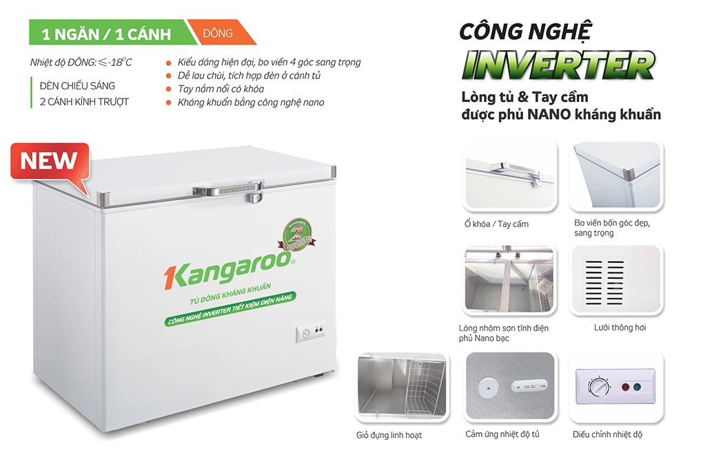 Tủ đông kháng khuẩn Kangaroo KG428IC1
